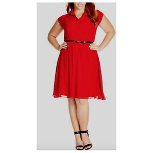 City Chic red pleated front dress with belt